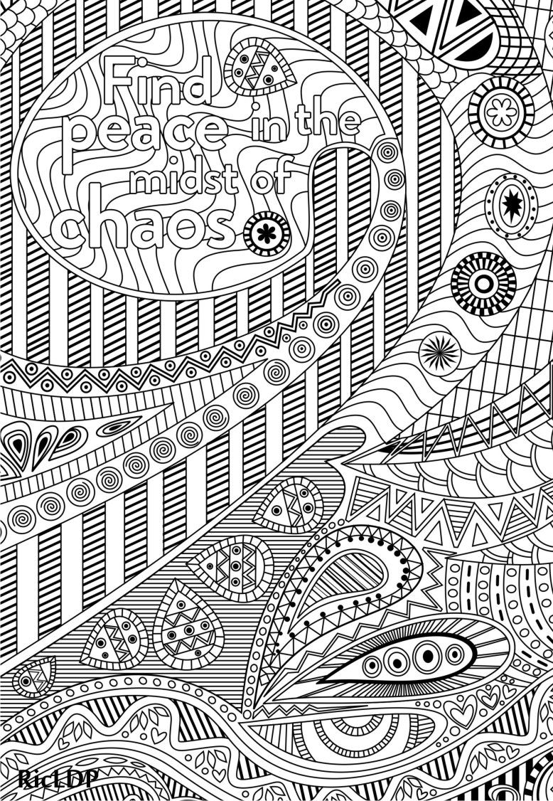 Find peace in the midst of chaos coloring page #ricldp #ricldpartworks