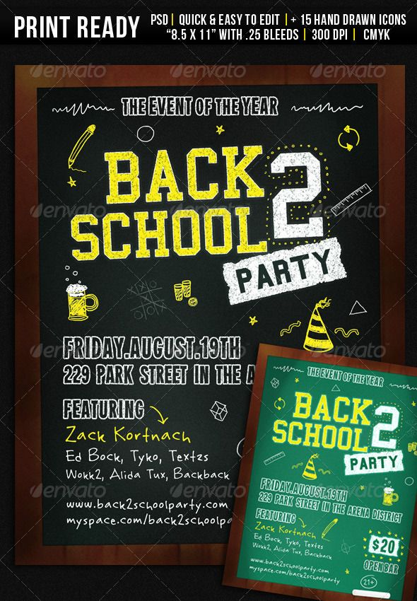 back 2 school party flyer graphicriver back 2 school 8 5 x 11