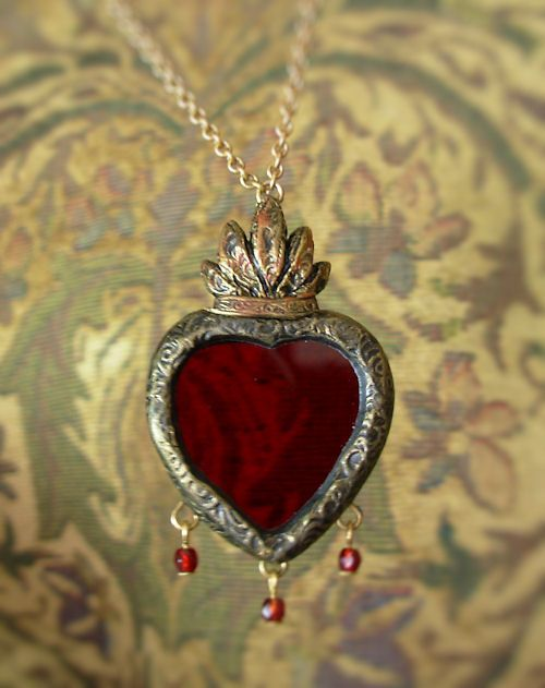 From the studio parrish relics jewelry sacred heart a stained glass sacred heart necklace with a trio of faceted glass drops by jen parrish aloadofball Images