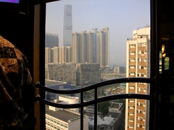 View of busy Hong Kong from our hotel window