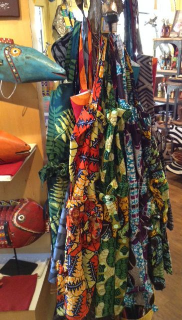 Dsenyo aprons, hand made by women in Malawi.  Fair trade and ethical kitchen accessories at our store in Eugene, OR! #fairtrade #aprons