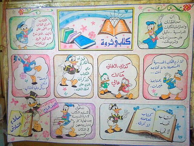مجلة حائطية عن الكتاب والمحافظة عليه مع الشخصية الكرتونية بطوط Arabic Lessons Teach Arabic Arabic Worksheets