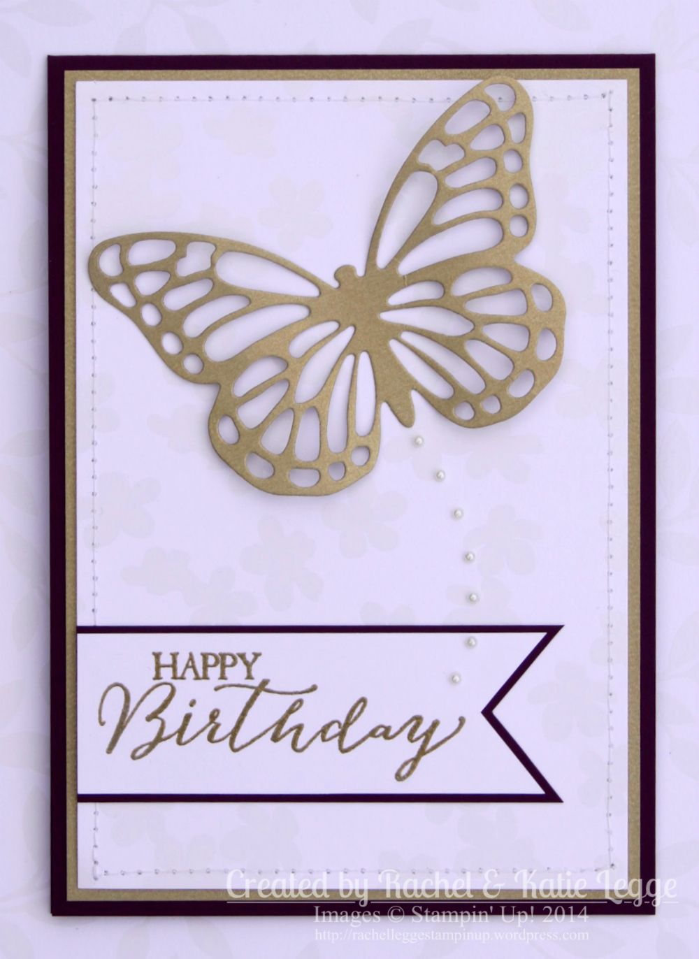 Stampin' Up! Butterfly Thinlits Card   Created by Rachel and Katie Legge rachelleggestampinup.wordpress.com #Occasions2015 #SaleABration2015 #StampinUp