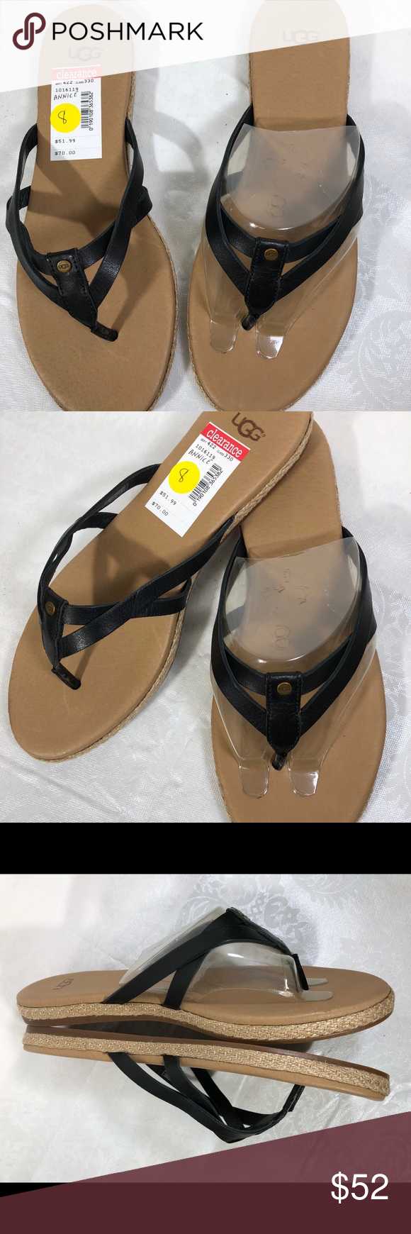 291481eea3e UGG ANNICE LEATHER JUTE SANDALS Black SIZE 7 NWT