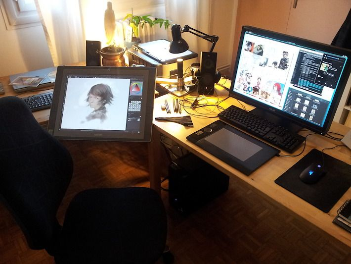 how to put keyboard and cintiq on desk