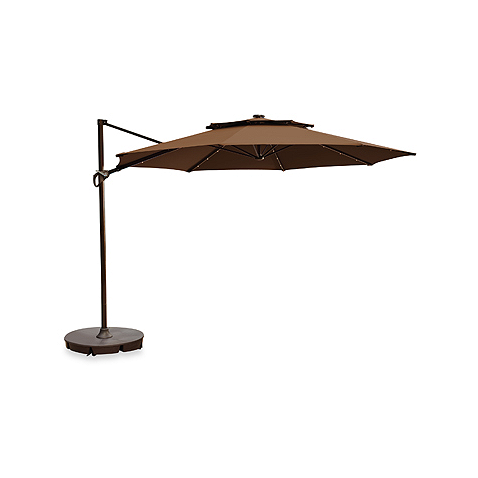 11 Foot Round Solar Cantilever Umbrella In Latte Patio Umbrella Bases Solar Umbrella Patio Umbrellas