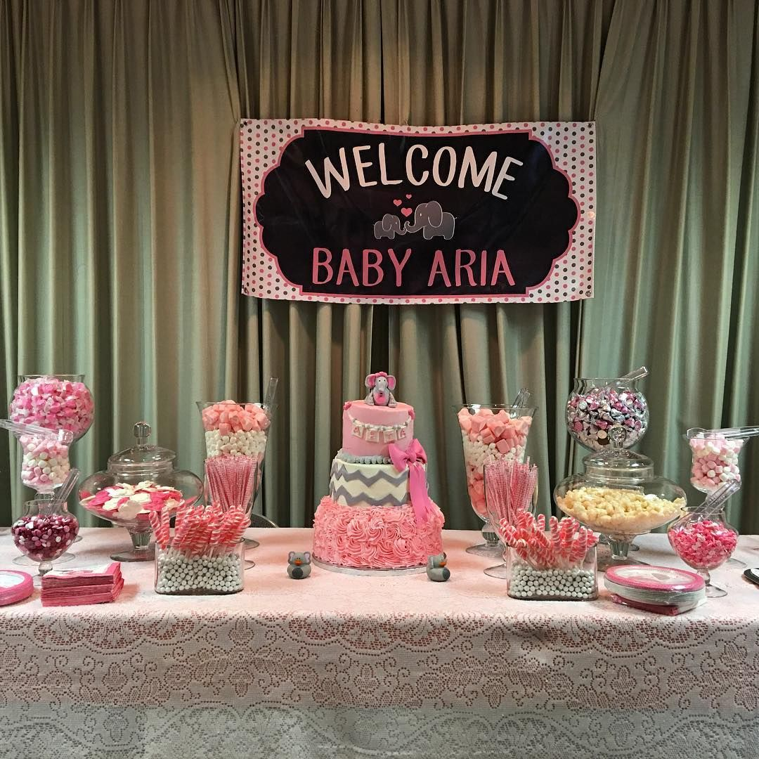 Good Elephant Theme Candy Bar For Little Girls Baby Shower.