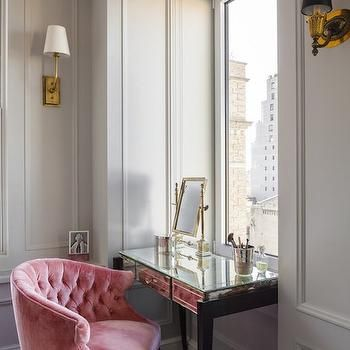 pink vanity chair kitchen tables with chairs velvet tufted photo from vellainteriors com