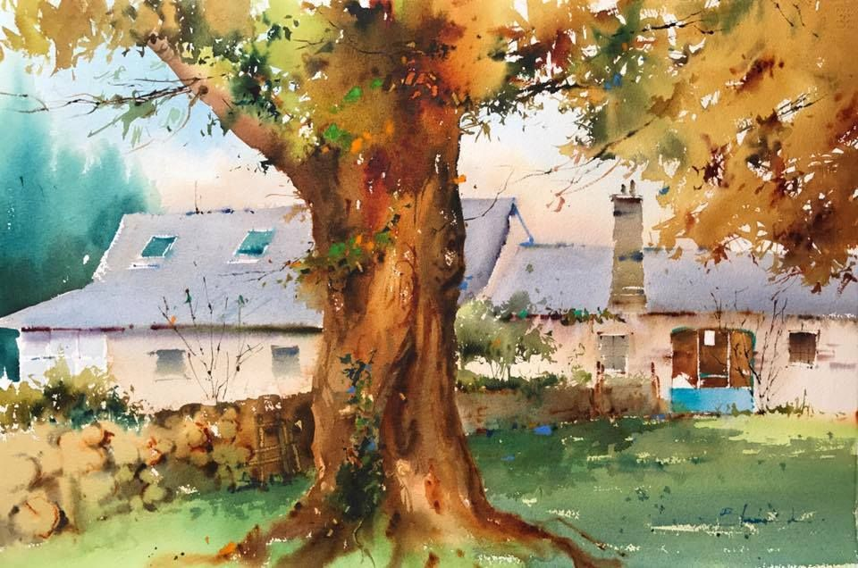 By Blanca Alvarez Aquarelle Ville Village Aquarelle