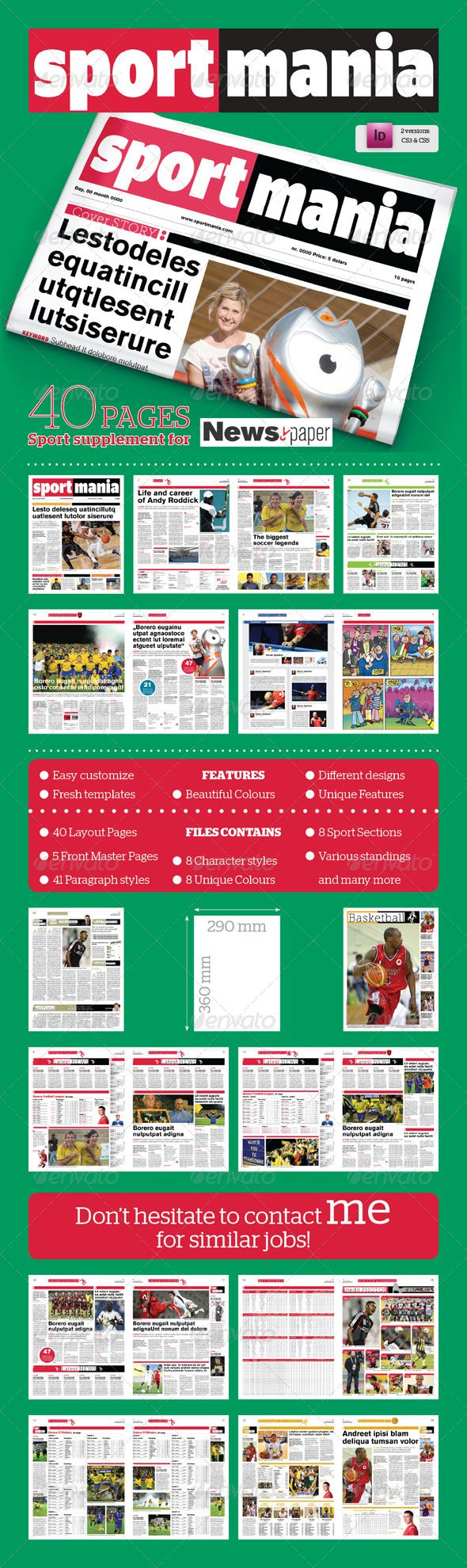 40 Pages Sport Supplement For Newspaper Print Templates Template