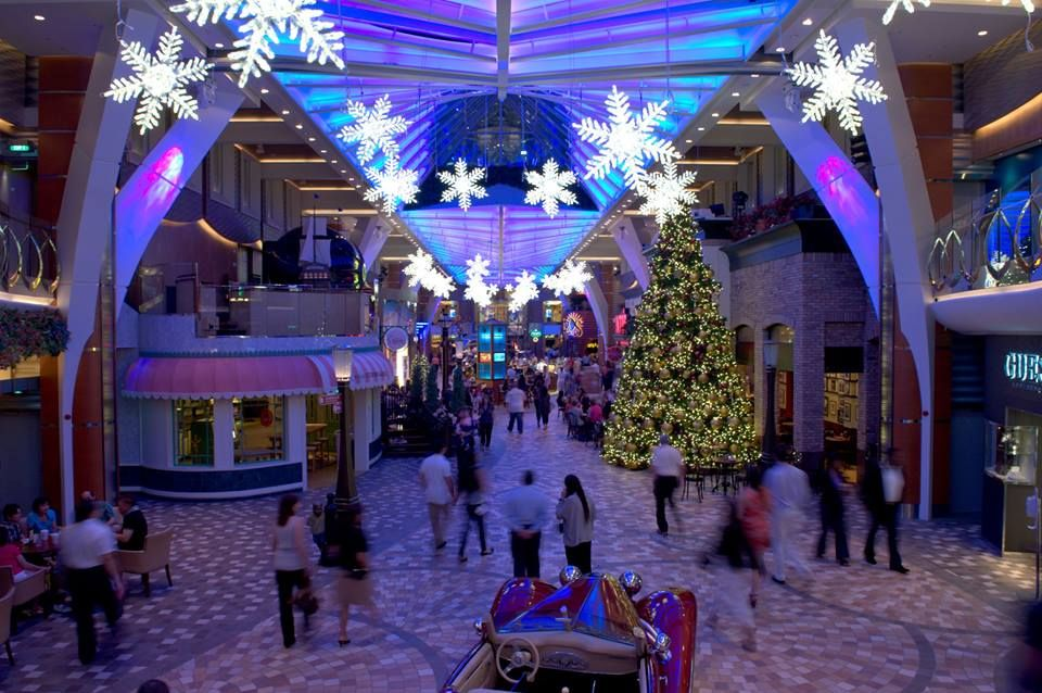 Royal Caribbean 2021 Christmas Cruise Christmas At The Royal Promenade At Royal Carribean S Allure Of The Seas Christmas Cruises Royal Caribbean Caribbean Holidays