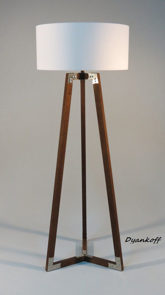 Handmade Tripod Floor Lamp Wooden Stand In Dark Wood Color With