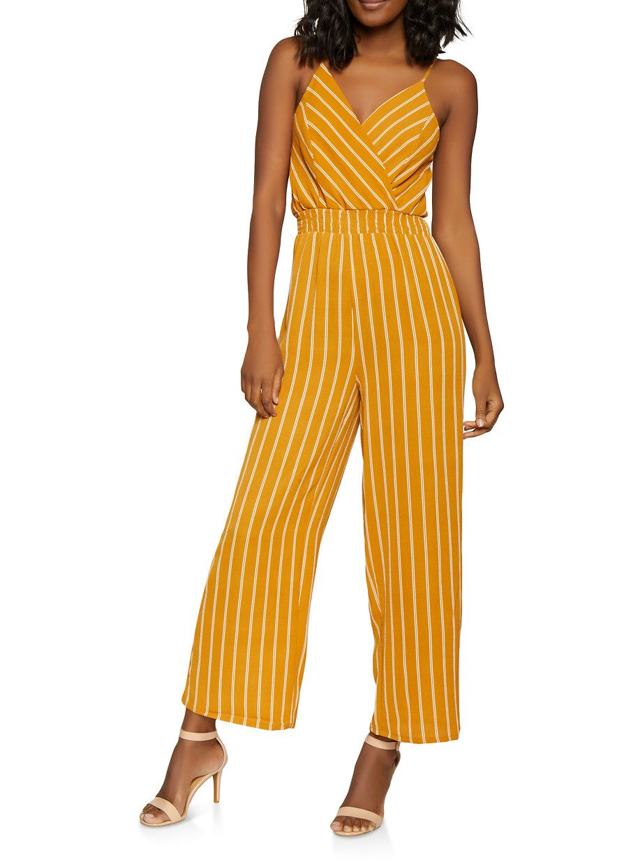 b92e4a32487b Striped Faux Wrap Jumpsuit - Yellow - Size M in 2019