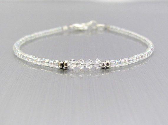 Crystal Bracelet Swarovski Crystal Bracelet Seed Bead Bracelet Beaded Bracelet Friendship Bracelet Beaded Bracelets Confirmation Jewelry Crystal Bracelets