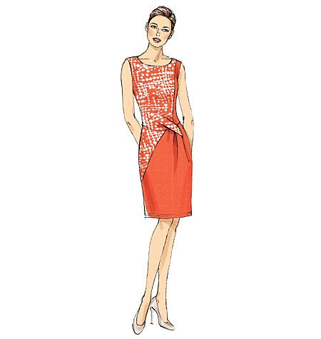 Elegant dress sewing pattern with stylish seaming and tuck details. Chic and flattering. Vogue Patterns V9148, Misses' Dress
