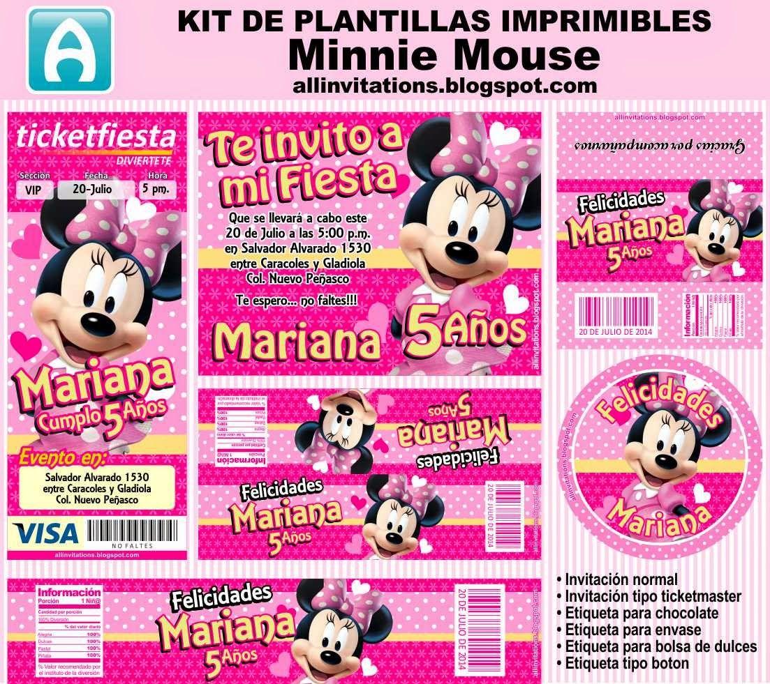 Kit de plantillas imprimibles de Minnie Mouse | mi | Pinterest ...