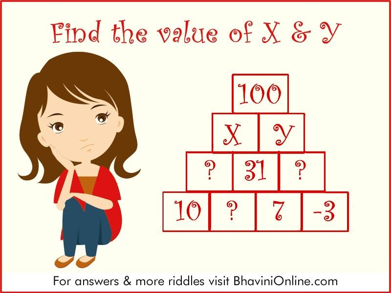 Numerical Riddle Find The Value Of X Y In The Pyramid Bhavinionline Com Riddles Mind Puzzles Maths Puzzles