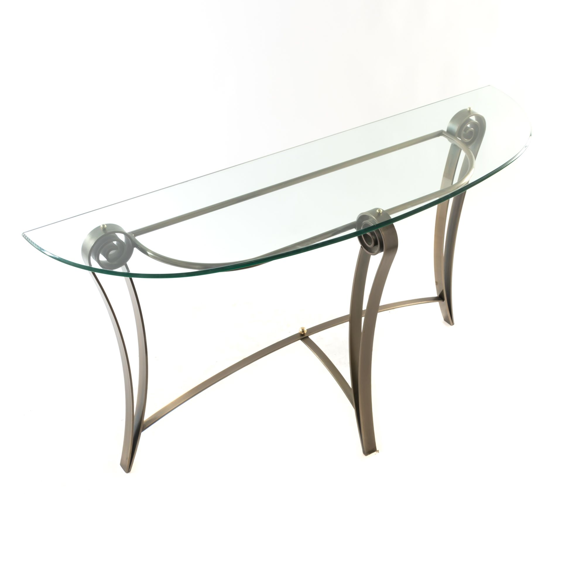 Nickel Glass Console Table With Scroll Design Console Table Glass Console Table Glass