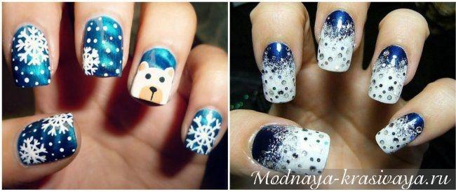 Картинки по запросу рисунок зимний на ногтях точки   Ногти ...