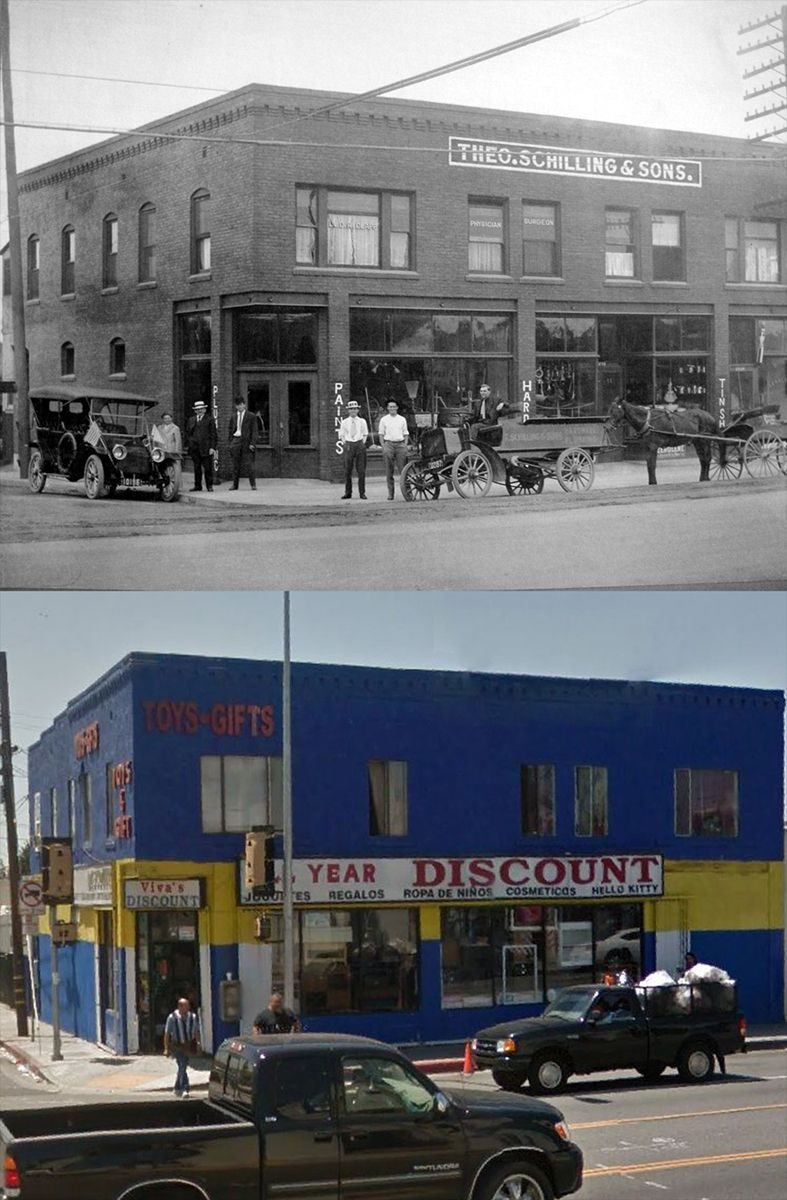 3828 Whittier Blvd In 1915 And Today Bizarre Los Angeles In 2020 Whittier Blvd East Los Angeles Los Angeles History