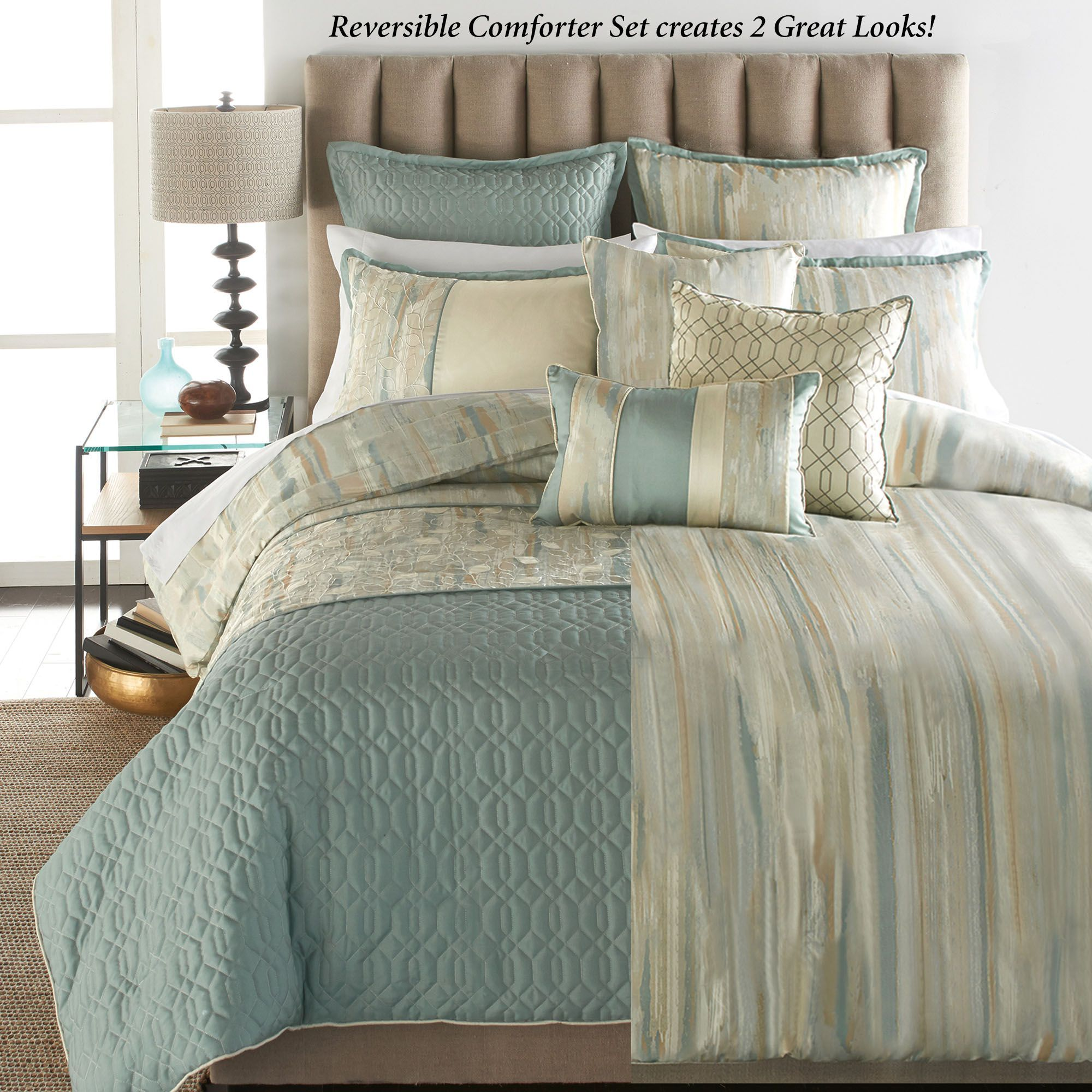 Sausalito Reversible Comforter 9 Pc Bed Set Comforter Sets