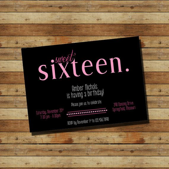 Sweet Sixteen 16th Birthday Party Invitation (digital file) Pink Black on Etsy, $15.00