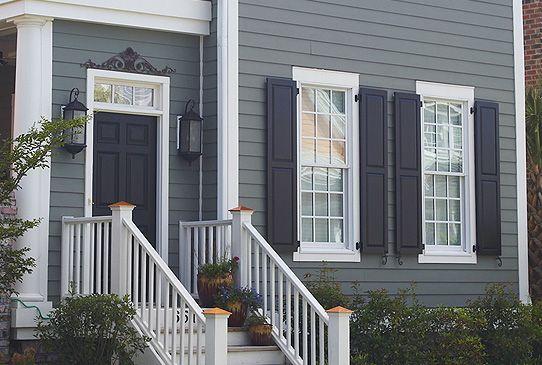 Navy Shutters Medium Blue Grey Exterior In 2019 House