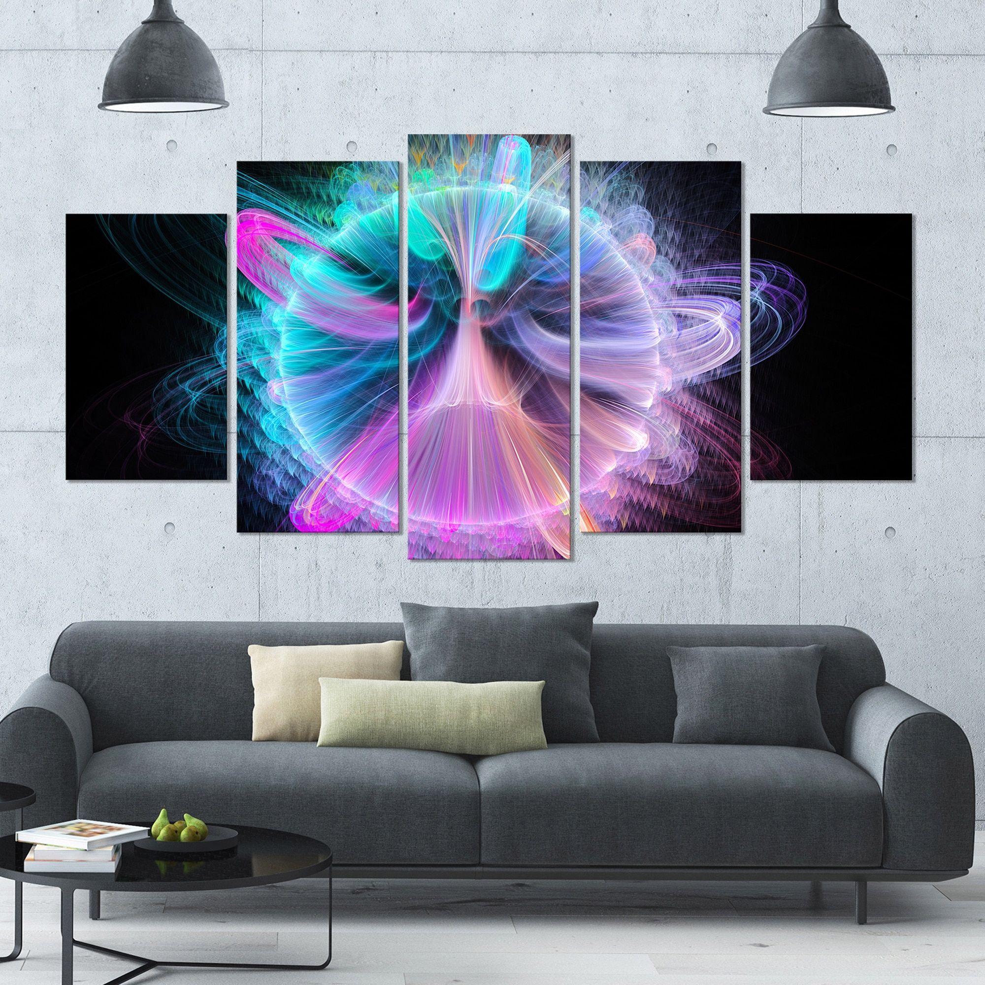 Designart ublue fractal vortices of energyu floral wall art on
