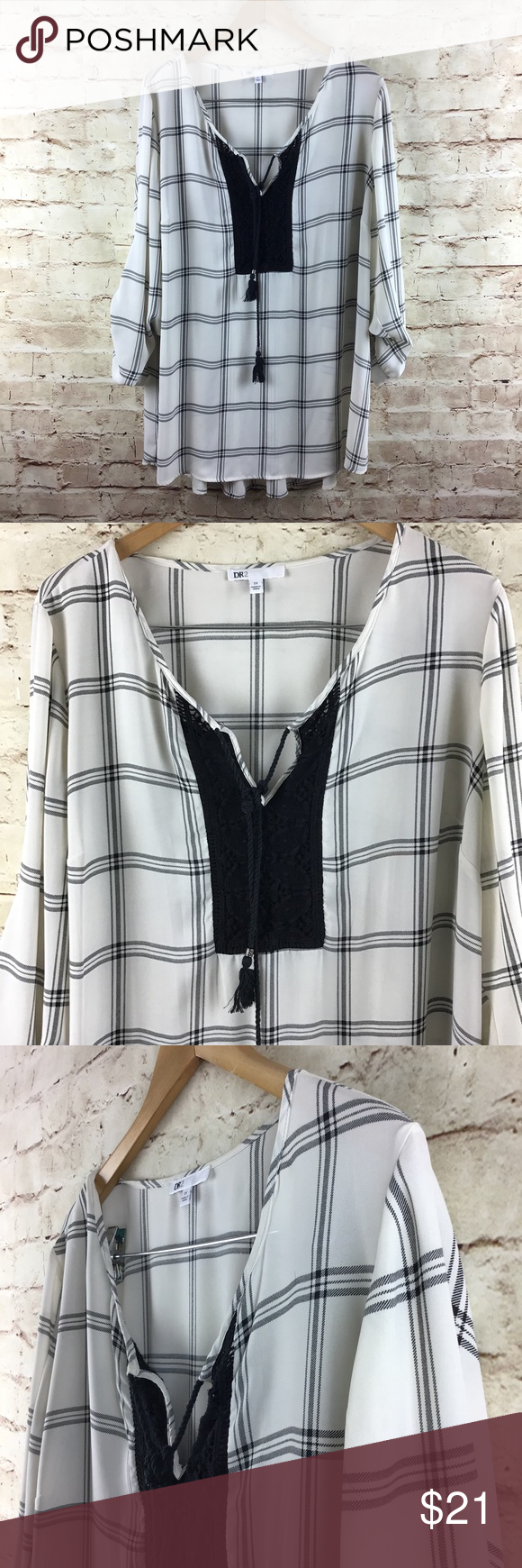fc39de5cd7b Daniel Rainn DR2 Plus Size Women s Top 2X DR2 blouse Plus sized 2X Pullover  Long sleeve
