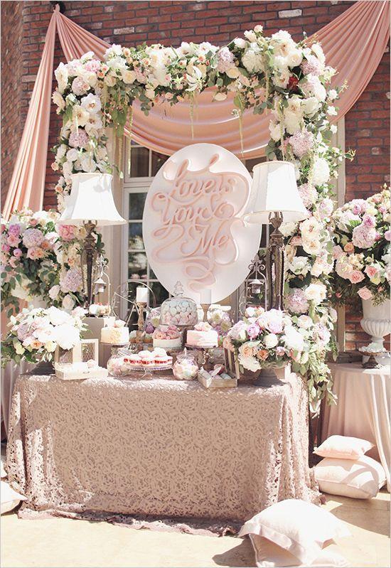 Glamorous Garden Rose Wedding Dessert table, Wedding and