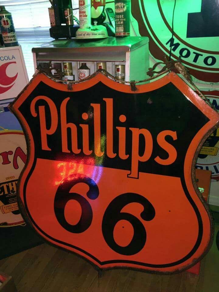 Phillips 66 Porcelain Lollipop Sign   Porcelain & Tin Signs