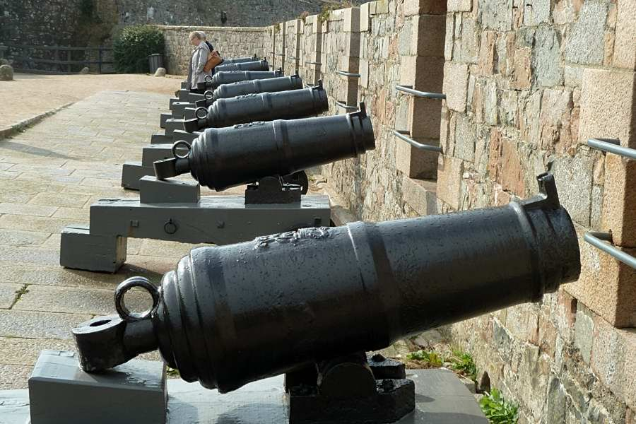 Old cannons on Elizabeth Castle, Jersey