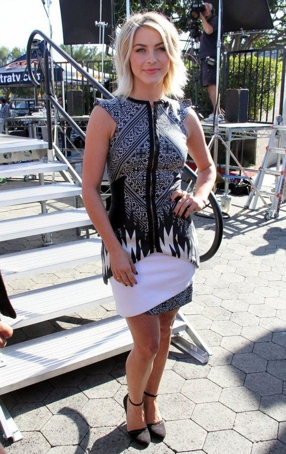 @roressclothes clothing ideas #women fashion Julianne Hough Black-and-white Bibhu Mohapatra Print Dress