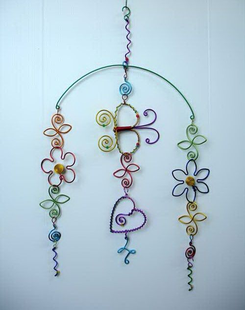 wire flower mobile | Garden Windchimes & Suncatchers | Pinterest ...