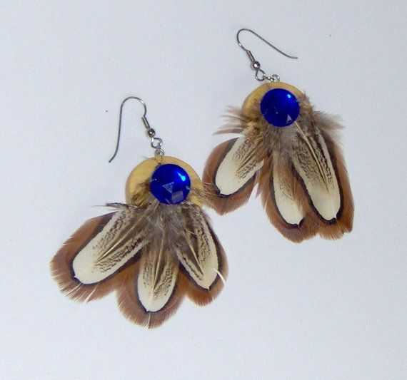 Pheasant Feather Earrings With Blue Gem Brown by HandCraftedMinds