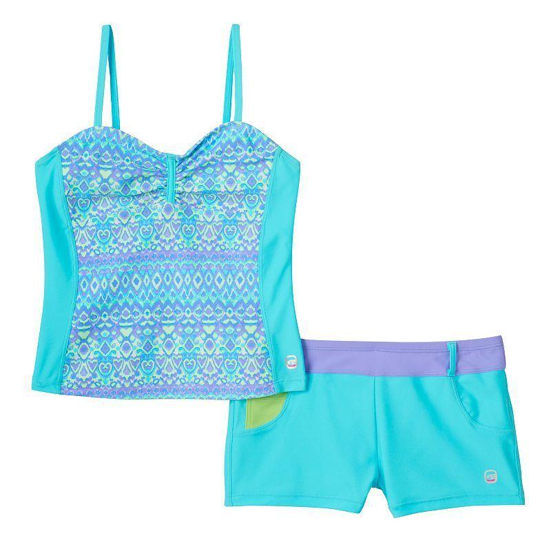 8378c15ac6 Girls 7-16 Free Country Bandeaux Tankini & Shorts Swimsuit Set, Girl's,  Size: 10, Light Blue