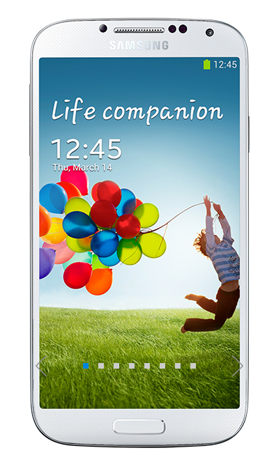 The new Samsung Galaxy S 4 in white.  It features dual camera shooting, smart scrolling and a large screen.