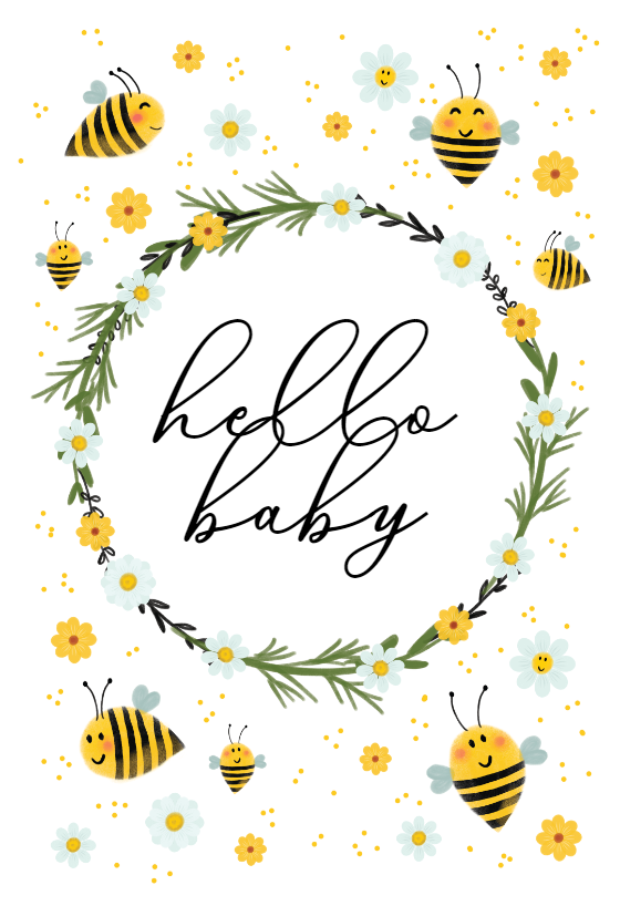 Bee Wreath Baby Shower New Baby Card Greetings Island Baby Congratulations Card Bee Wreath New Baby Cards