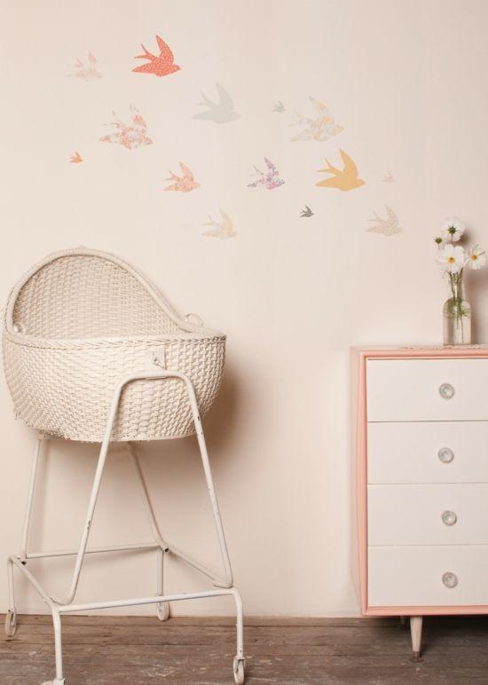 süße Vögelfiguren -Babyzimmer Mädchen Ideen für Babyzimmer