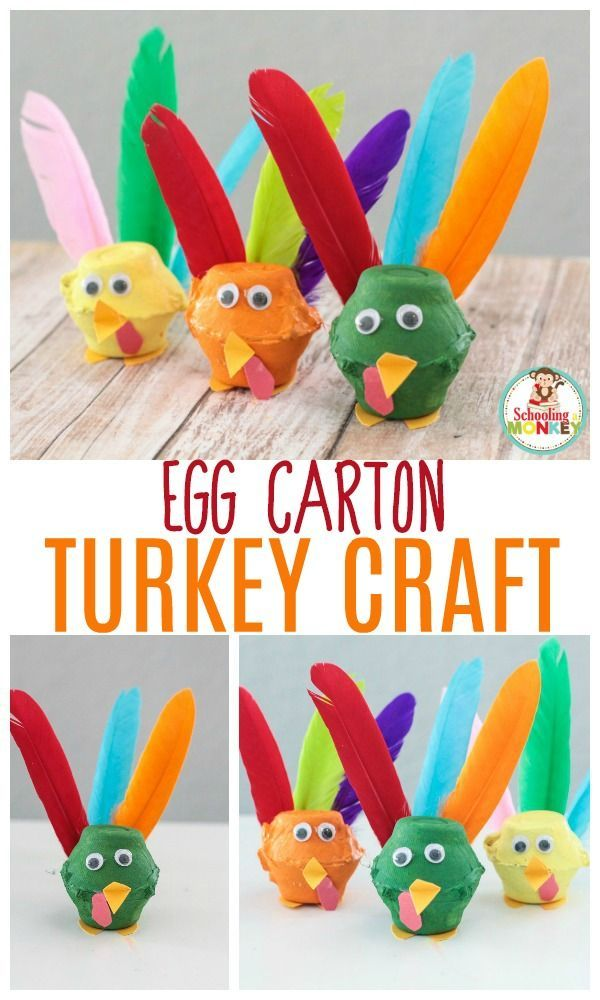 the most memorable egg carton turkey craft kids can make this year