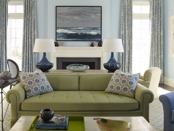 Cool Blues And Greens Green Couch Living Room Green Sofa Living Room Living Room Green