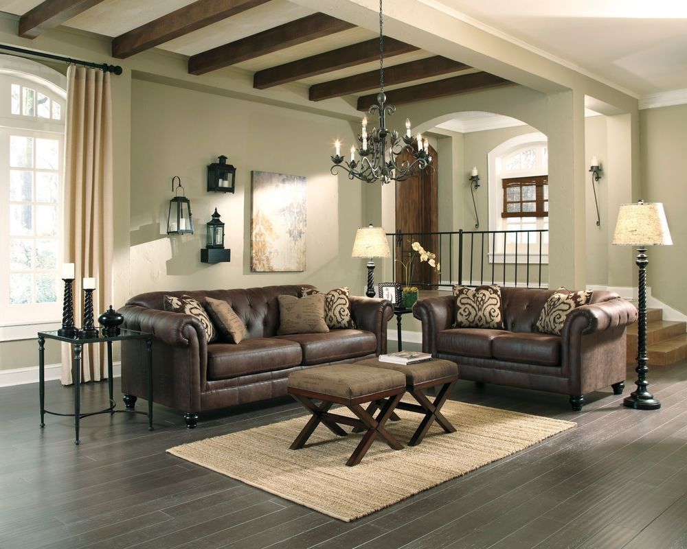 Best New Ashley Contemporary Espresso Faux Leather Brown Sofa 400 x 300