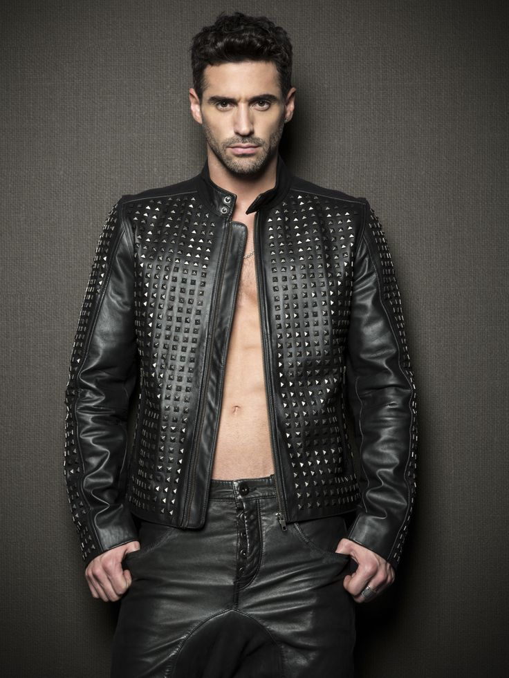 Men Black Genuine Leather Jacket With Silver Studded Front