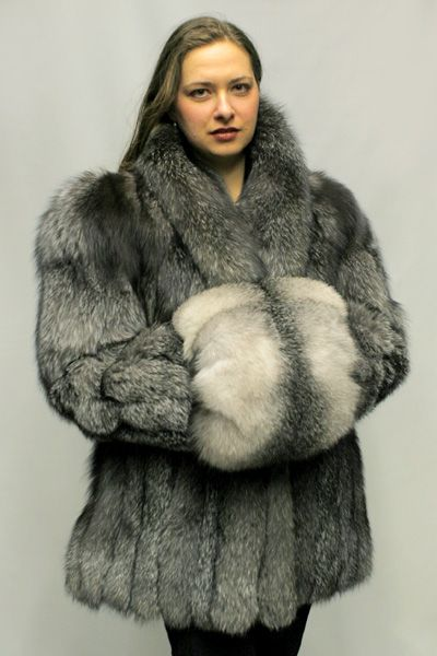 Fox Fur Design Jacket With Tuxedo Collar Color Shown is Silver Fox ...