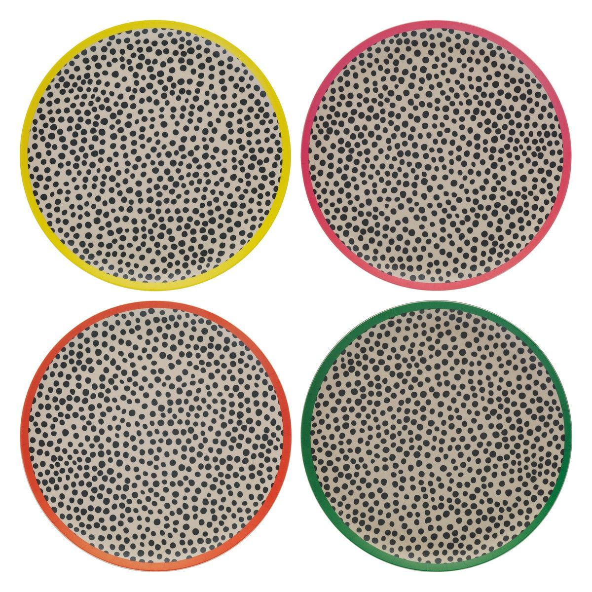 Nadi Patterned Bamboo Dinner Plates Set Of 4 Orted Coloured Rim Now At Habitat Uk