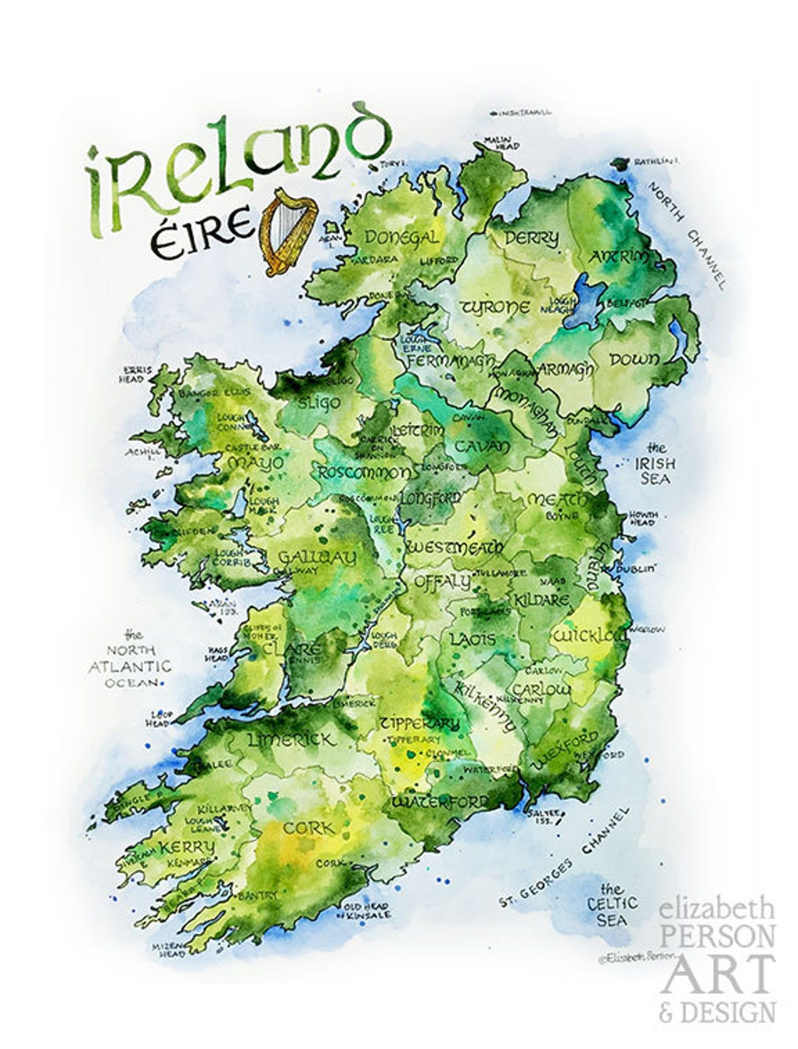 Ireland Map Watercolor Illustration Country Of Ireland Irish