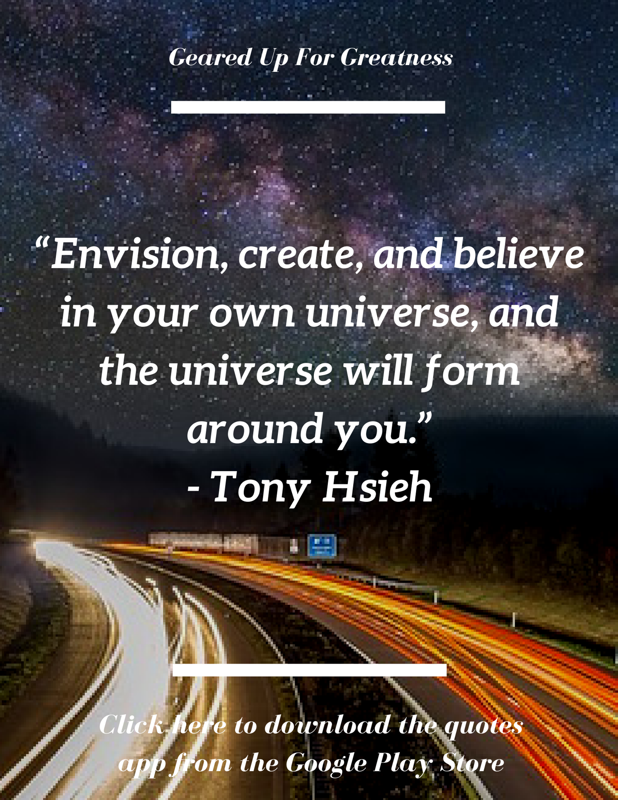 Love this quote! Envision, create, and believe in your own