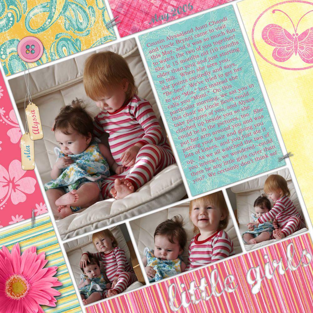 Little Girls - Scrapbook.com Great idea to skew the lines!