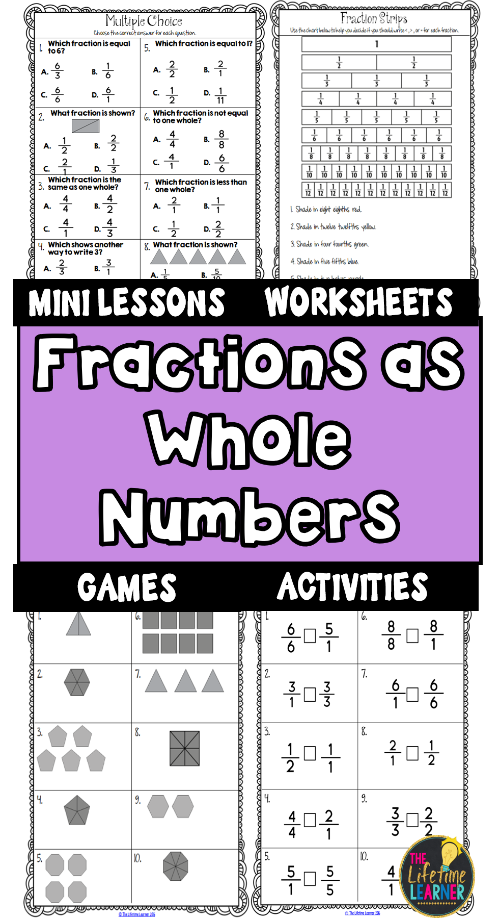 This fraction unit includes everything you need to help your students  understand fractions as whole numbers. Stu…   Third grade fractions [ 1802 x 980 Pixel ]
