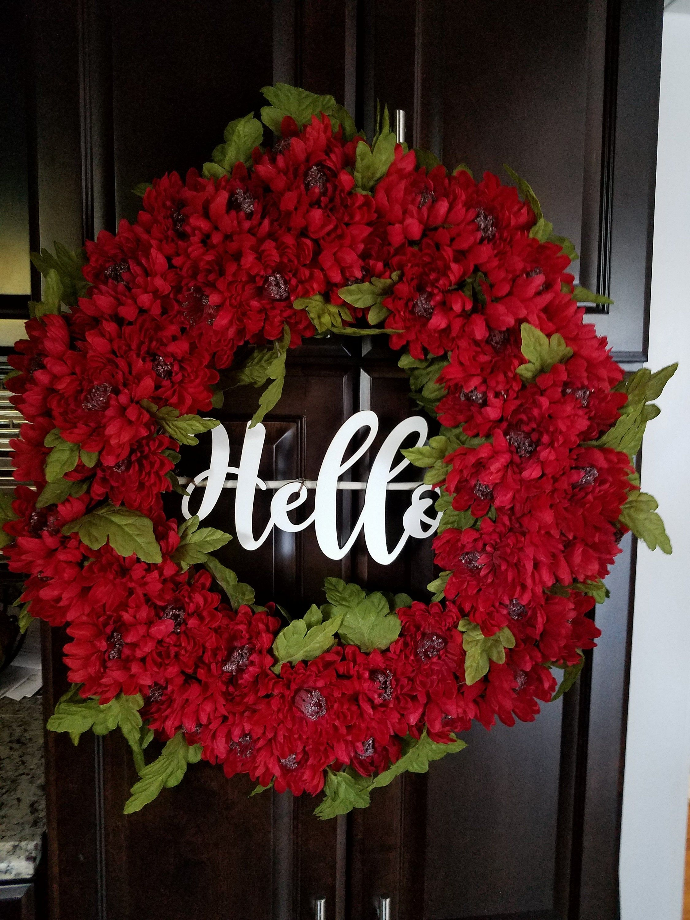 Red Wreath For Front Door 22 In Wreath Year Round Wreath Winter Door Decor Hello Wreath Floral Wrea Door Wreaths Diy Winter Door Decorations Red Wreath